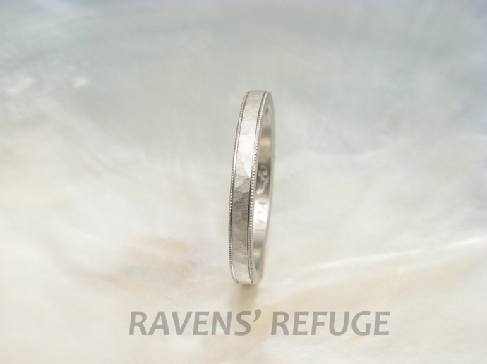 delicate hammered milgrain wedding band -- hand forged platinum wedding ring