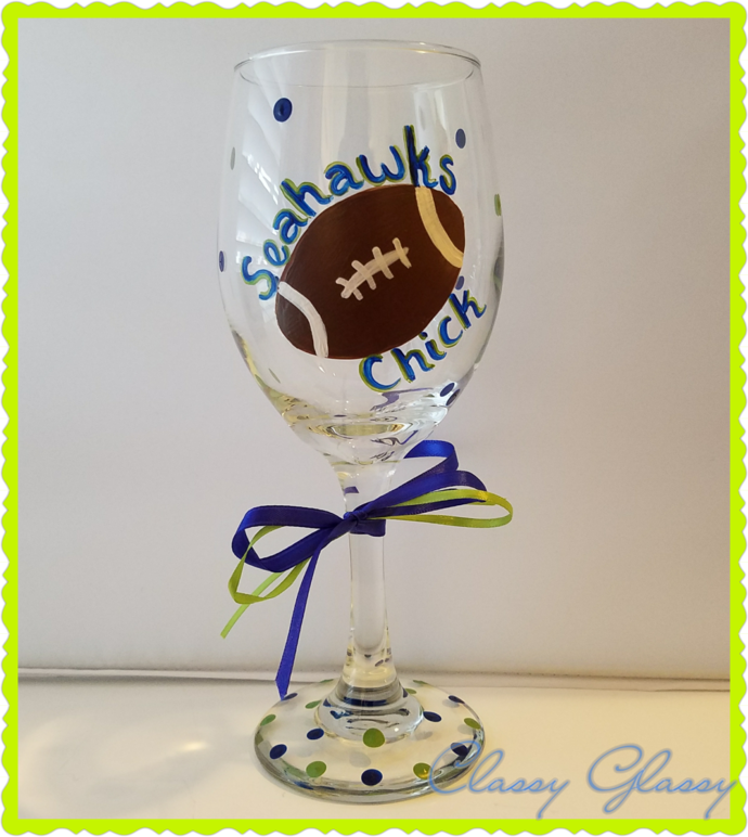 Seattle Seahawks Football Chick Hand Painted Wine Glass