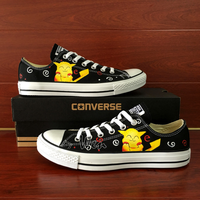 a311faab87b2 Canvas Sneakers Men Women Converse Pokemon Hand Painted Shoes Cute Pikachu  Chuck