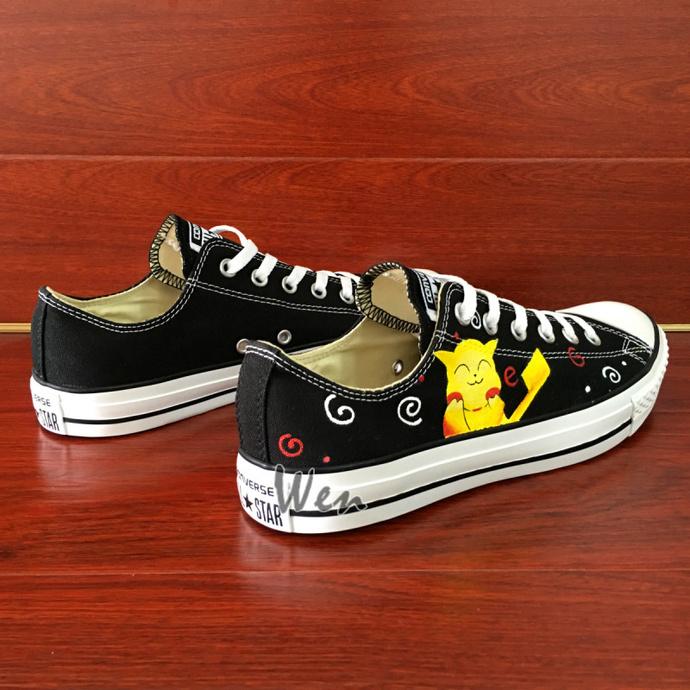 Canvas Sneakers Men Women Converse Pokemon Hand Painted Shoes Cute Pikachu Chuck