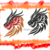 Dragon head 2 versions. 5x7 digital embroidey fill in fill stitching.
