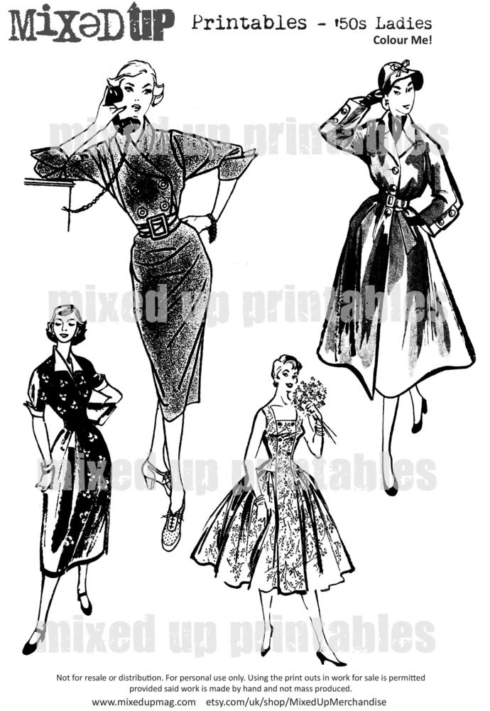 Mixed Up Magazine's 50s Ladies Printables