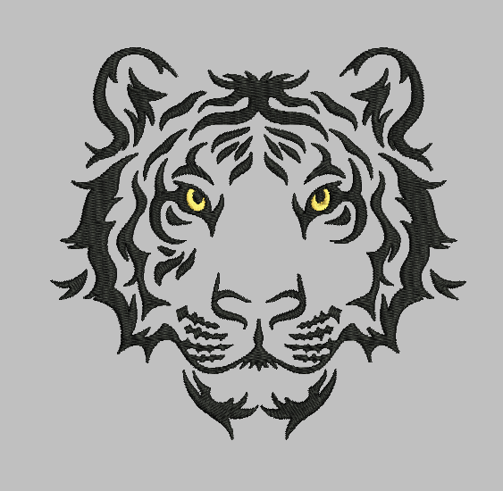 Tiger 2 versions, 5x7 fill stitch designs. Digitial embroidery files.