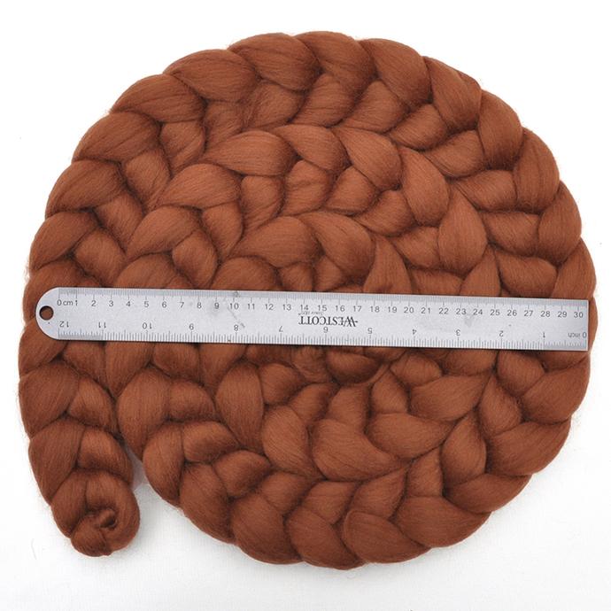 Newborn Photo Prop - Corriedale wool roving braid, 8 ounces - Teddy Bear