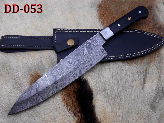 Damascus Steel Kitchen Knife Custom Made 13 Inches Long Hand Forged Chef  Knife