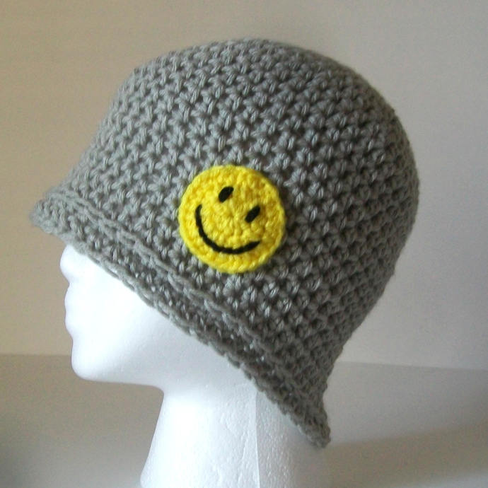 Gray Smiley Face Beanie Crochet Womens Smiley Face Hat Gray