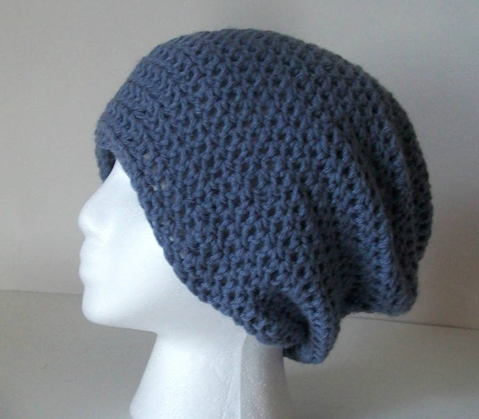 Dusty Blue Crochet Slouchy Beanie   Medium Blue Womens Crochet Slouchy Hat   6c40641df80