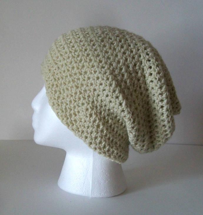 Cream Slouchie Beanie   Crochet Womens by Bekscrochetboutique on a52ec933849