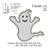 Halloween Ghost Applique Embroidery Design, halloween embroidery pattern No 601