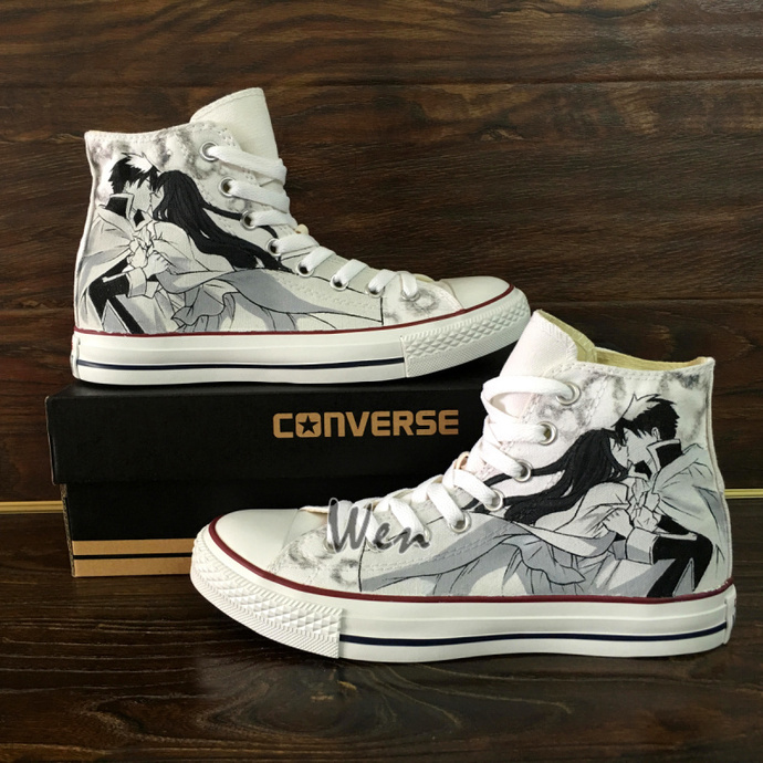 ff43a69ee0ef0 Design Wedding Party Shoes Hand Painted Converse All Star Loving Story  Romeo Juliet Canvas Sneakers White High Tops