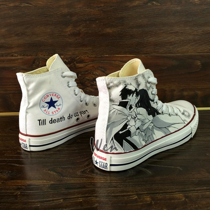 Design Wedding Party Shoes Hand Painted Converse All Star Loving Story Romeo