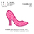 High heel Applique Embroidery Design, High heel Applique embroidery pattern No