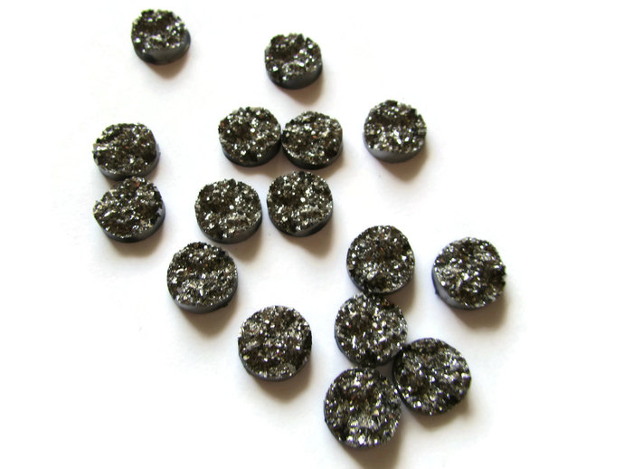 Silver Grey Druzy Cabochons 11mm Faux Druzy Cabochons Round Druzy Cabs Resin
