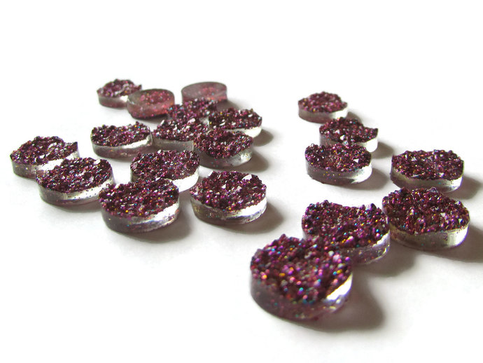 Purple Glitter Druzy Cabochons Faux Druzy Cabochons 12mm Round Cabochons Resin