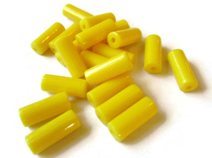 20 15mm Yellow Tube Beads Vintage Plastic Bead Yellow Plastic Beads Old New
