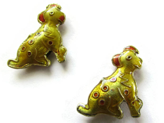 2 19mm Yellow Cloisonne Dog Beads Yellow Dalmatian Beads Animal Beads Pet Beads
