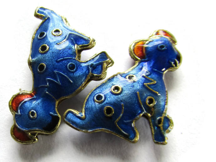 2 19mm Blue Cloisonne Dog Beads Blue Dalmatian Beads Animal Beads Pet Beads
