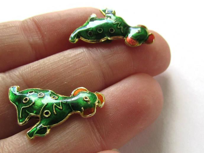 2 19mm Dark Green Cloisonne Dog Beads Green Dalmatian Beads Animal Beads Pet