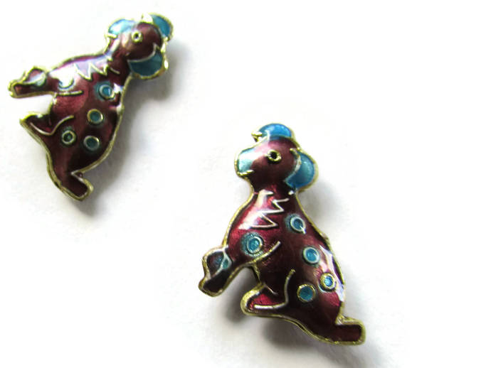 2 19mm Purple Cloisonne Dog Beads Purple Dalmatian Beads Animal Beads Pet Beads