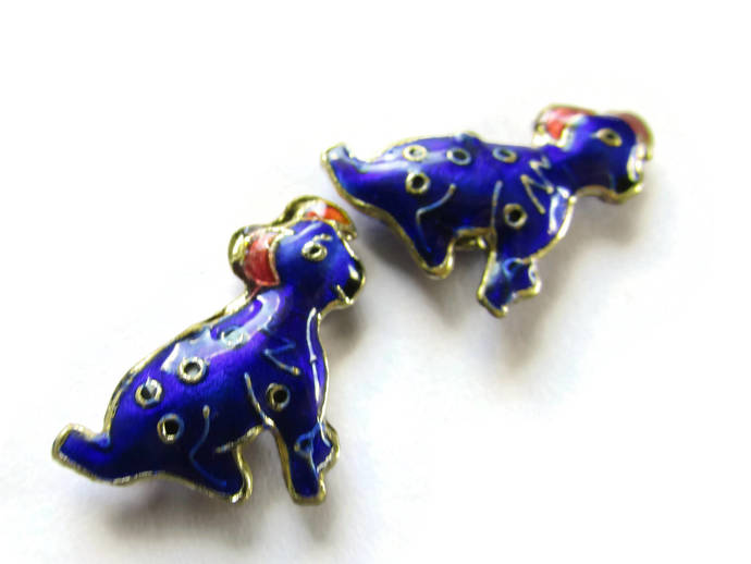 2 19mm Dark Blue Cloisonne Dog Beads Blue Dalmatian Beads Animal Beads Pet Beads