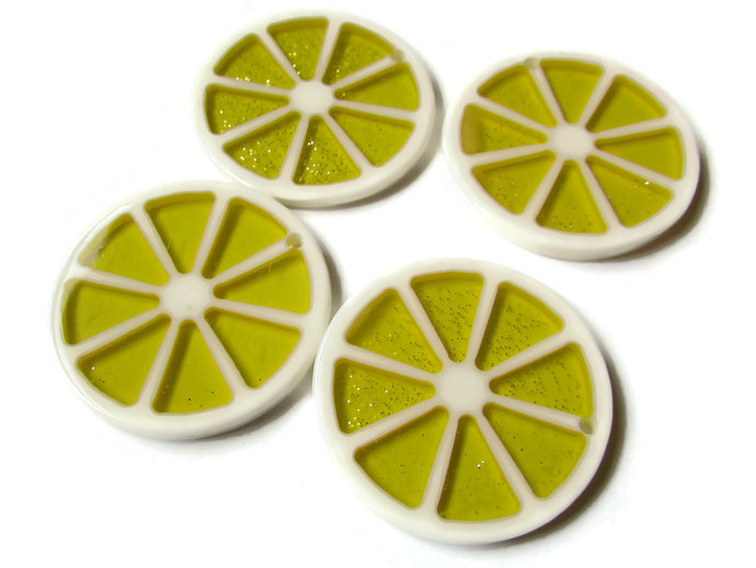 4 34mm Lemon Slice Charms Resin Charms Sparkle Charms Yellow Charms Citrus Fruit