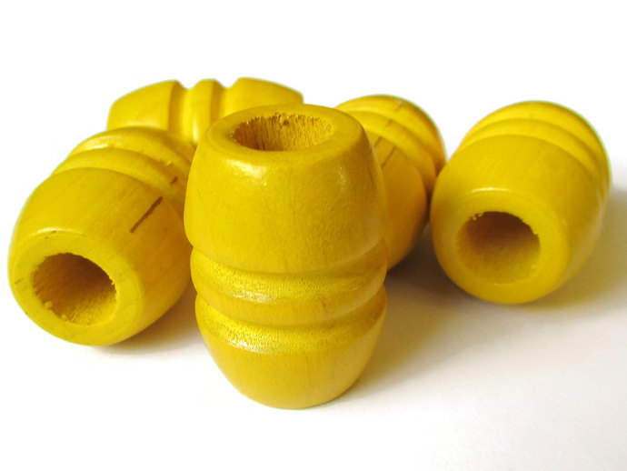 5 Large Yellow Barrel Beads 28mm Beads Fluted Barrel Beads Wooden Beads Wood