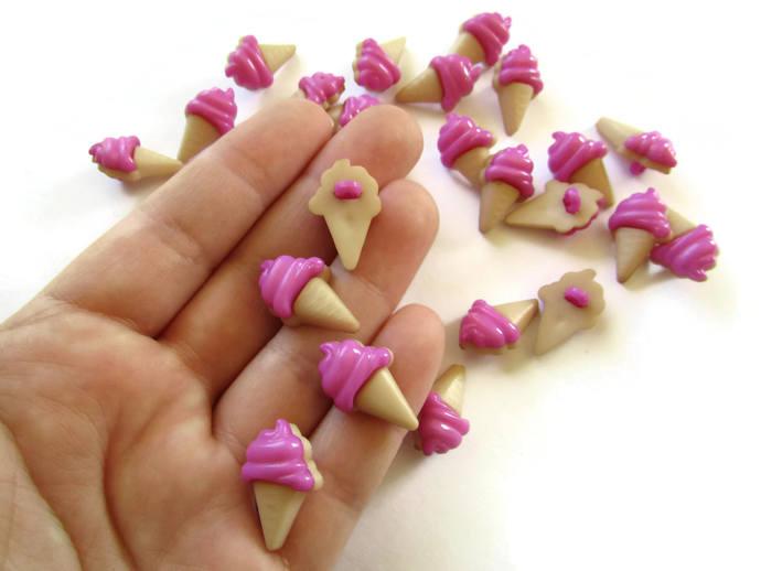 30 Ice Cream Cone Purple Buttons Shank Buttons Food Buttons Cute Buttons Kawaii