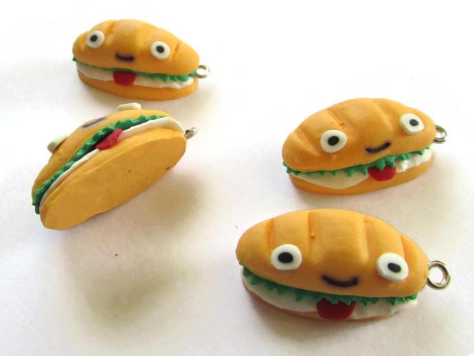 30mm Tasty Sandwich Charms Kawaii Sandwich Pendants Polymer Clay Charms Hoagie