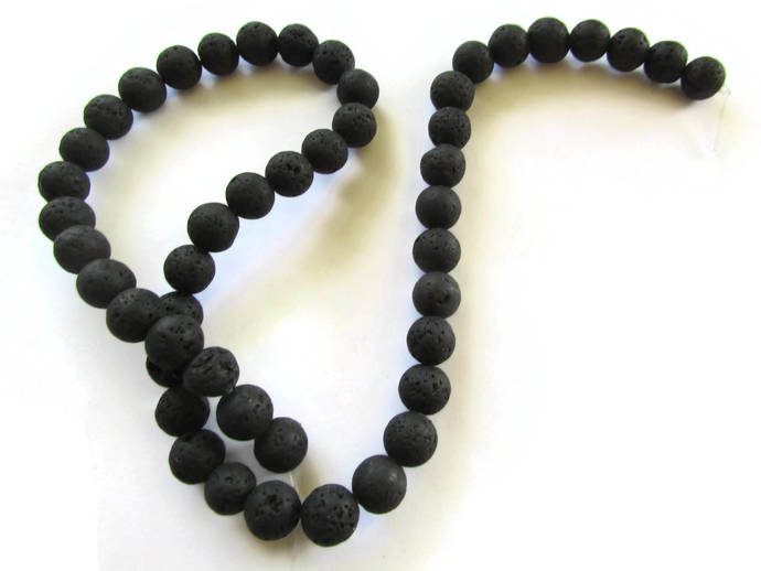 6mm 8mm or 10mm Lava Beads Full Strand Black Beads Stone Beads Natural Beads