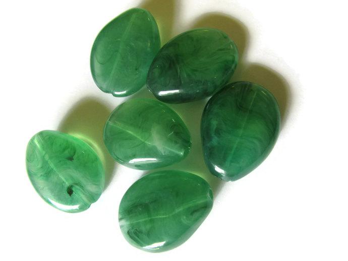 6 25mm Sea Green Beads Plastic Beads Flat Teardrop Beads Flat Oval Beads Green