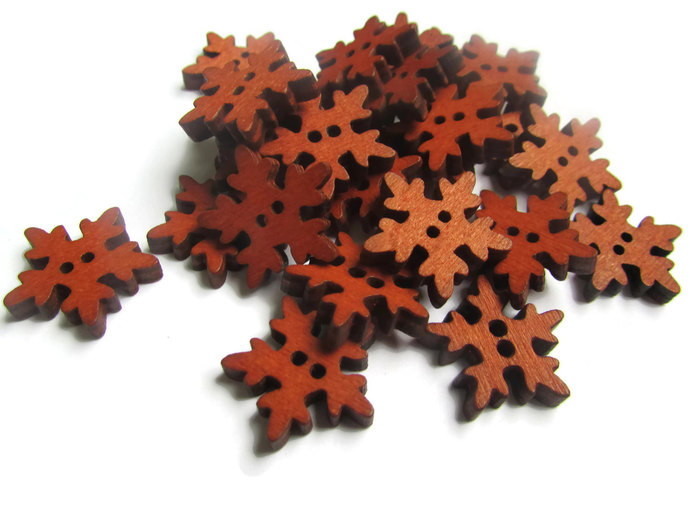 25 19mm Wooden Snowflake Buttons Two Hole Buttons Wood Buttons Brown Button Snow