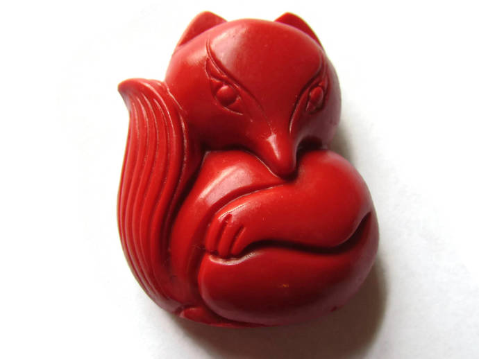 Carved Cinnabar Fox Bead Cinnabar Pendant Lacquer Bead Loose Bead Red Bead