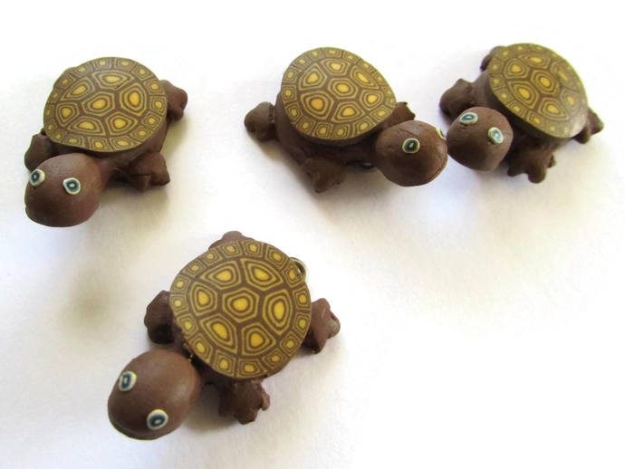 4 Brown Turtles with Yellow Spotted Shell Turtle Charms Tortoise Links Beads