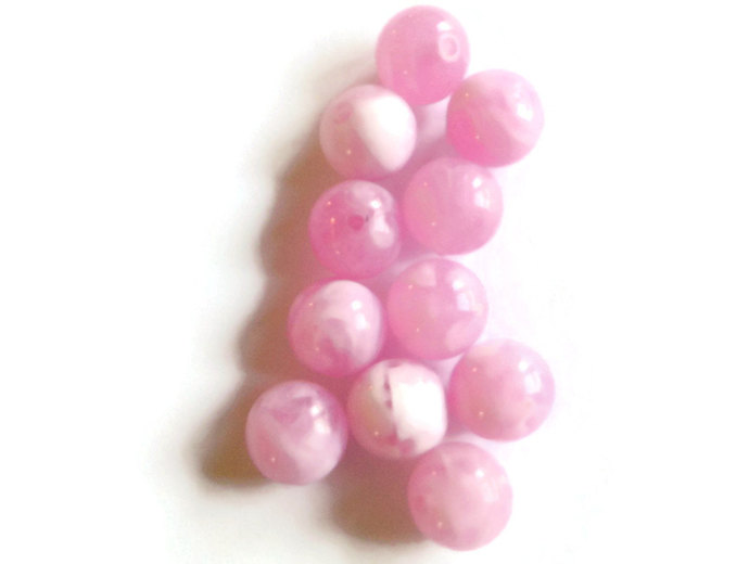 Qty 20 14mm Round Beads Light Pink and White Beads Swirl Beads Vintage Plastic