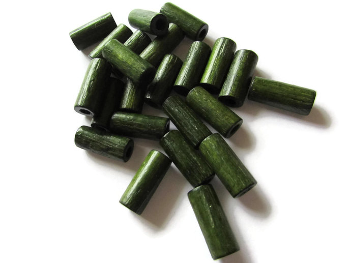 24 18mm Tube Beads Green Vintage Wood Beads Wooden Beads Jewelry Making Macrame