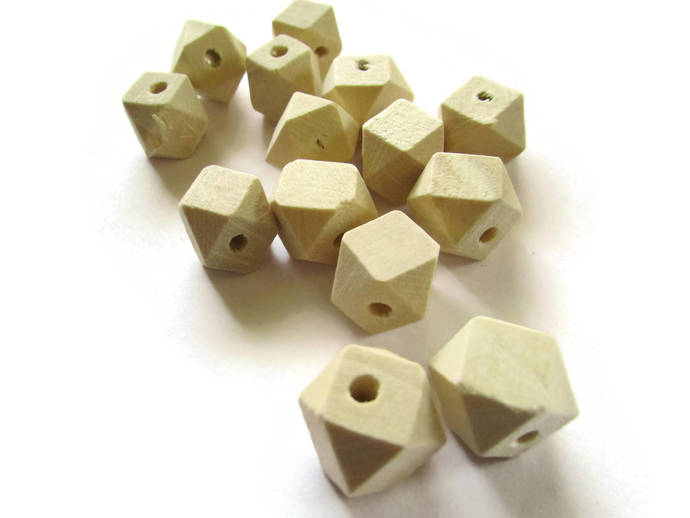 20 12mm Faceted Cube Beads Wood Beads Unfinished Beads Raw Beads Light Brown
