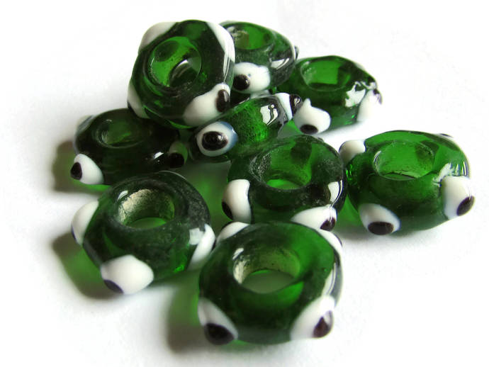 10 Green Evil Eye Beads Lampwork Glass Beads Large Hole Beads Donut Beads