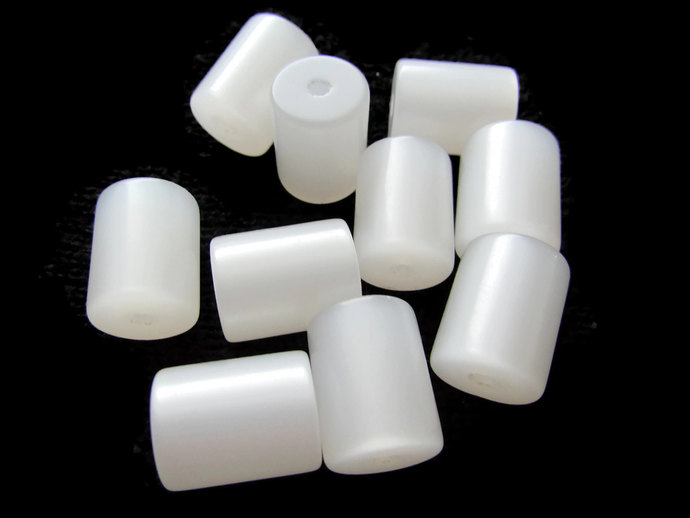 12.5mm White Tube Beads Vintage Lucite Beads Moonglow Lucite Bead Loose Beads