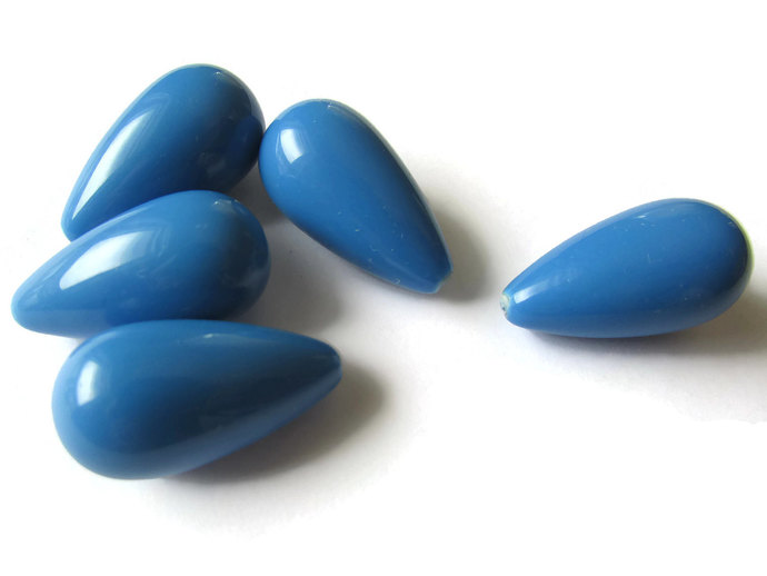8 26mm Blue Teardrop Beads Vintage Lucite Beads Loose Beads Loose Beads Large