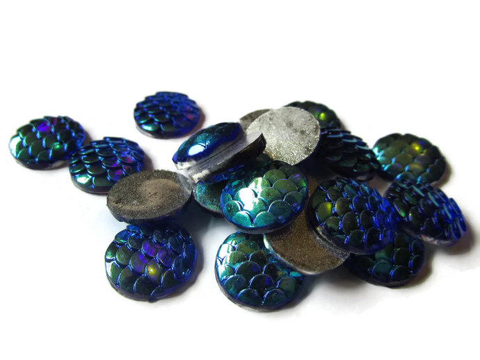 20 12mm Blue Scale Cabochons Mermaid Scale Cab Dragon Cabochons Fish Cabochons