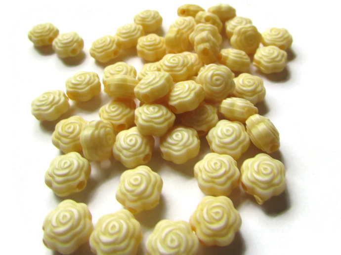 100 Yellow Rose Flower Beads 8x5mm 8mm Flower Beads Plastic Flower Beads Small