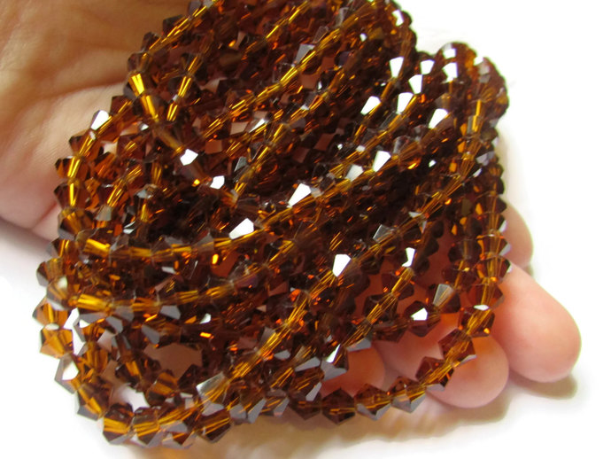 50 6mm Brown Crystal Bicone Beads Faceted Bicone Beads Full Strand Jewelry