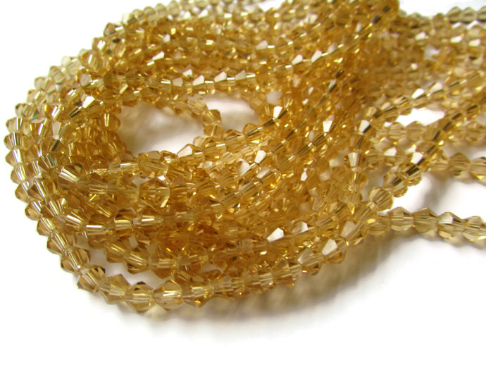 60 5mm Yellow  Beads Faceted Crystal Beads Faceted Bicone Beads Full Strand