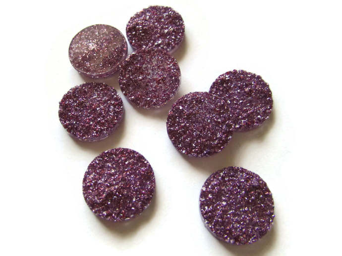 8 18mm Purple Druzy Cabs Faux Druzy Cabochons Resin Cabochons Round Cabochons