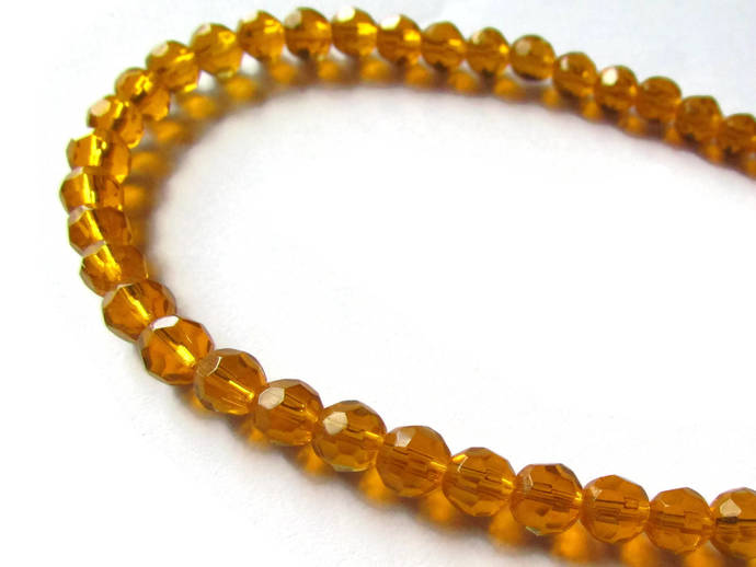 6mm Round Crystal Beads Orange Beads Crystal Glass Beads Full Strand Beading