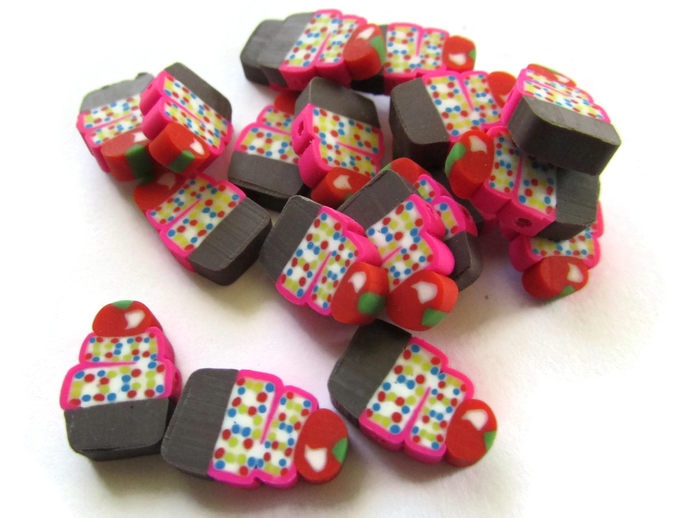 20 Cupcake Beads Cute Beads Cupcakes with Sprinkles and a Cherry Food Beads