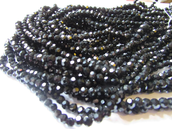 99 Black Faceted Crystal Beads 4mm Round Beads Full Strand Accent Beads about 16
