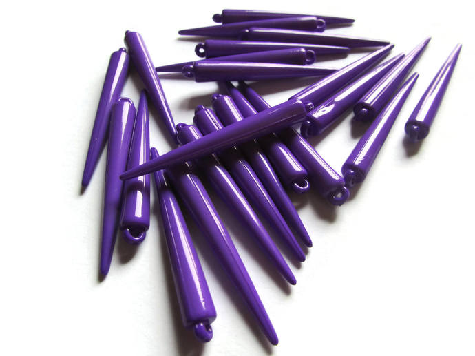 30 52mm Spike Beads Purple Plastic Charms Acrylic Spikes Jewelry Making Beading