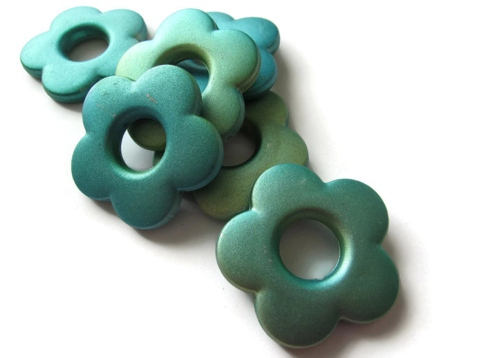 6 Blue Green Flower Beads Large Bead Frames Acrylic Beads Plastic Beads Donut