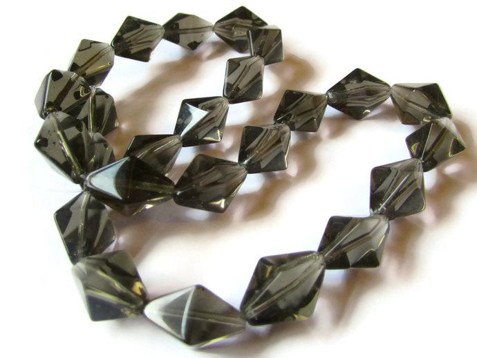 24 15mm Grey Crystal Beads Diamond Beads Square Bicone Beads Rhombus Beads 14